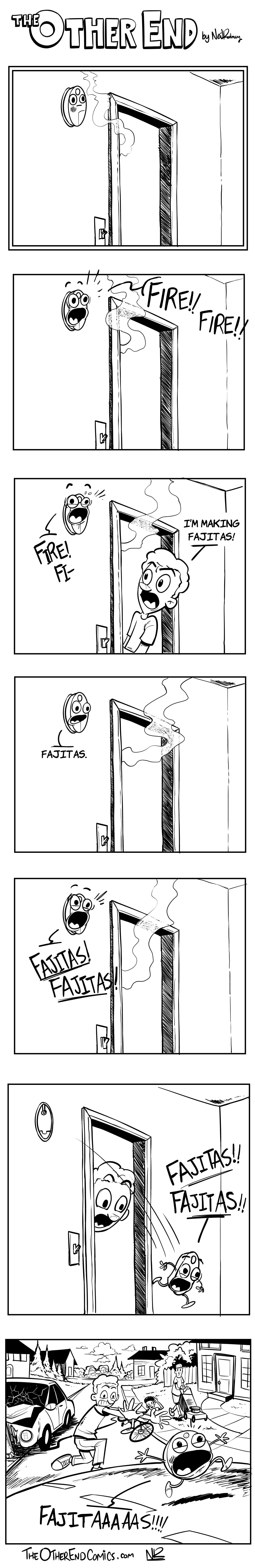 Smoke alarms love fajitas. This comic is so fake.